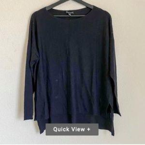 Hi-low lightweight merino pullover (black)